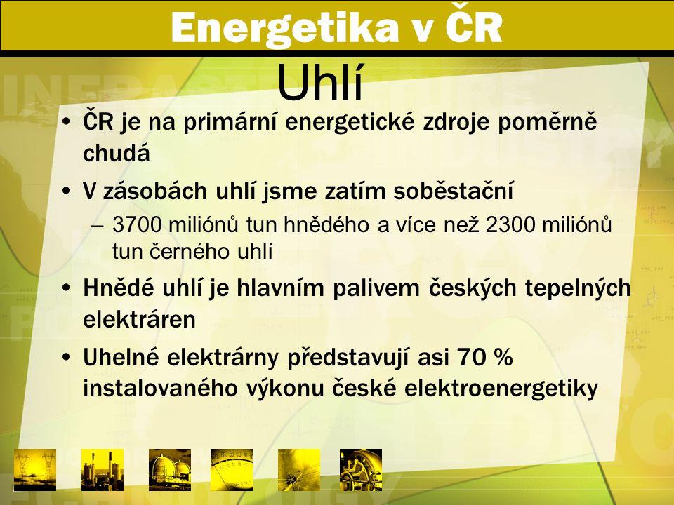 Energetika v ČR ČR je na primární energetické zdroje poměrně chudá V zásobách uhlí jsme zatím soběstační –3700 miliónů tun hnědého a více než 2300 mil