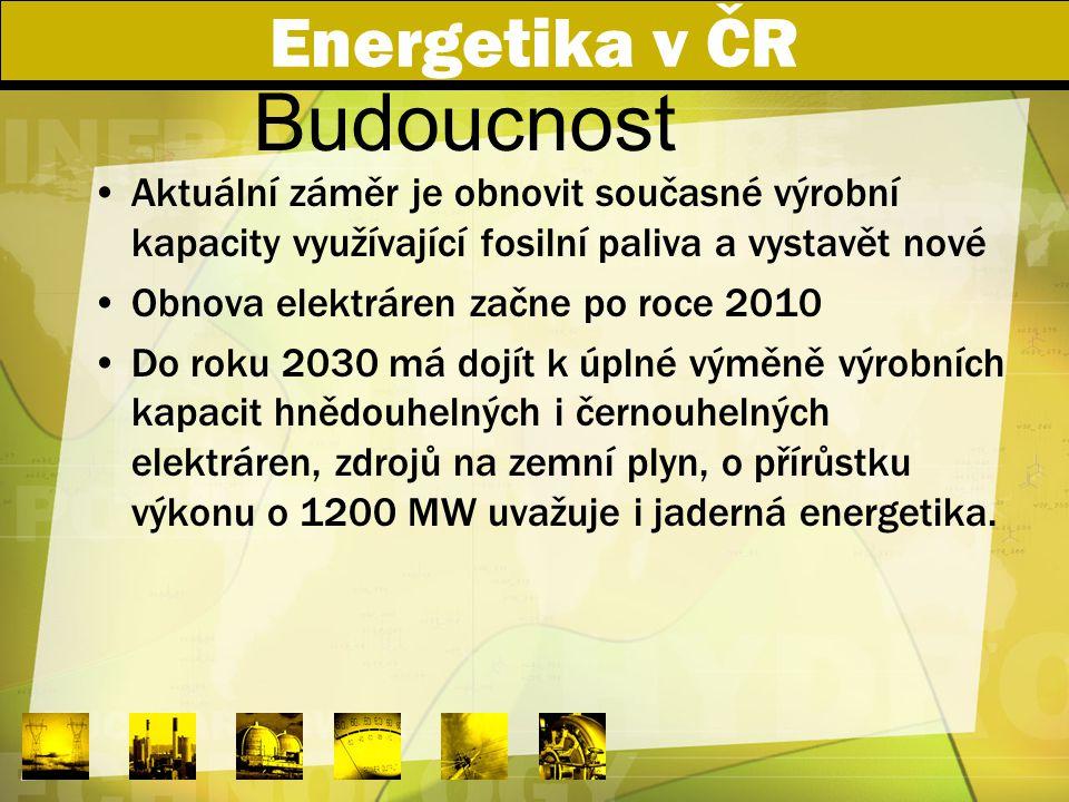 Energetika v ČR Aktuální záměr je obnovit současné výrobní kapacity využívající fosilní paliva a vystavět nové Obnova elektráren začne po roce 2010 Do