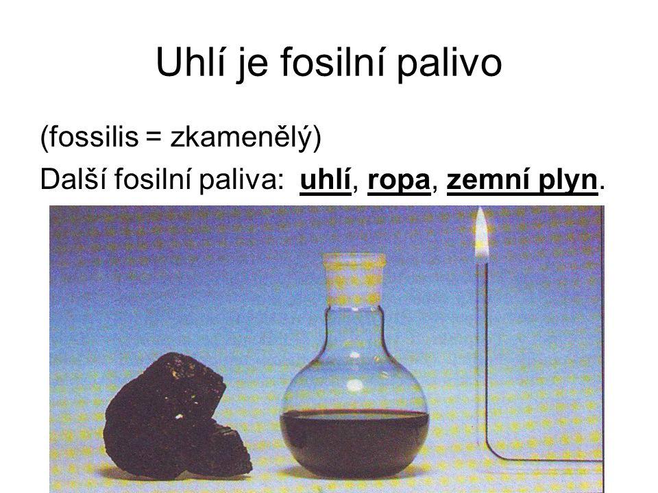 Uhlí je fosilní palivo (fossilis = zkamenělý) Další fosilní paliva: uhlí, ropa, zemní plyn.