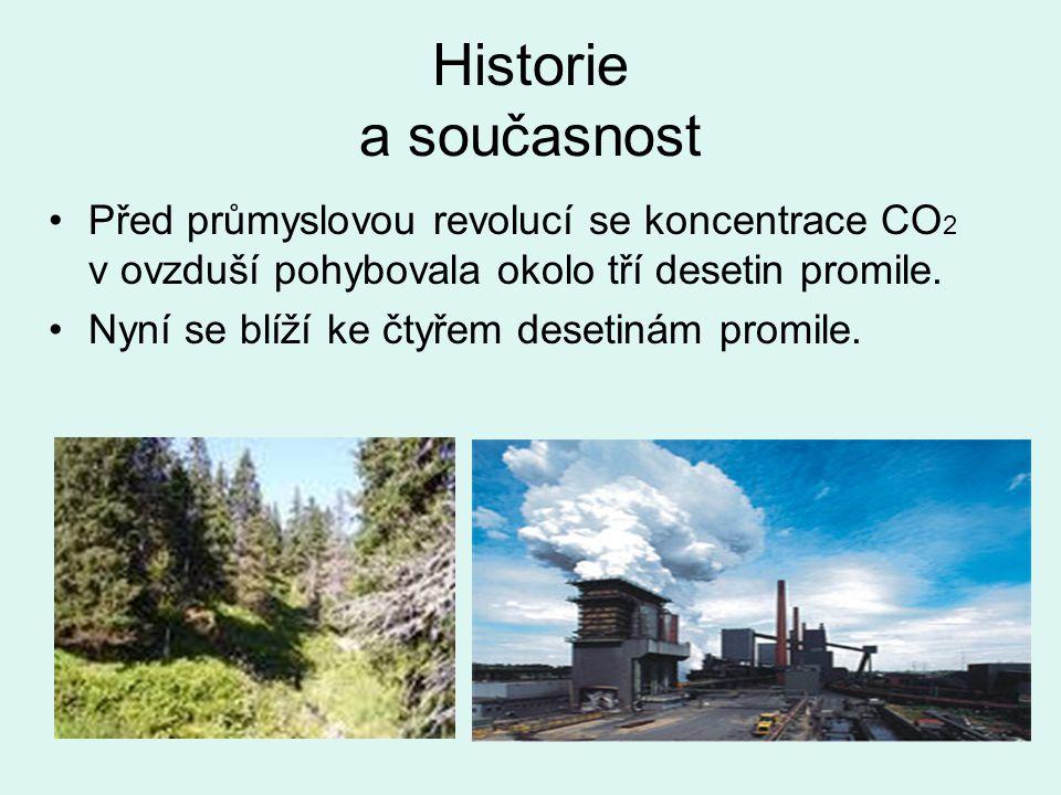 Historie a současnost Před průmyslovou revolucí se koncentrace CO 2 v ovzduší pohybovala okolo tří desetin promile.