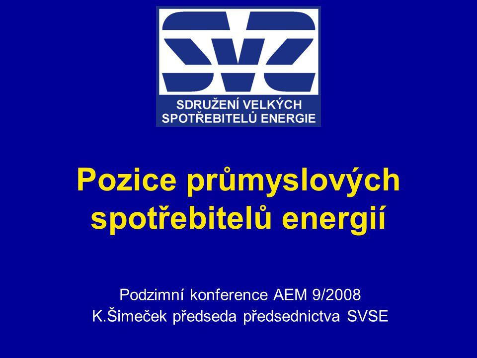 Pozice průmyslových spotřebitelů energií Podzimní konference AEM 9/2008 K.Šimeček předseda předsednictva SVSE