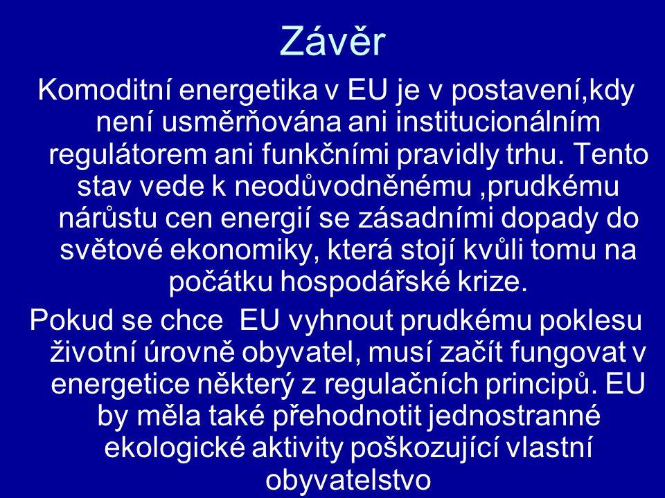 Závěr Komoditní energetika v EU je v postavení,kdy není usměrňována ani institucionálním regulátorem ani funkčními pravidly trhu.