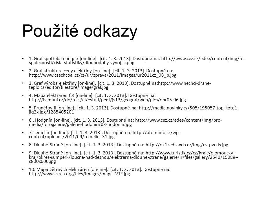 Použité odkazy 1. Graf spotřeba energie [on-line]. [cit. 1. 3. 2013]. Dostupné na: http://www.cez.cz/edee/content/img/o- spolecnosti/cisla-statistiky/