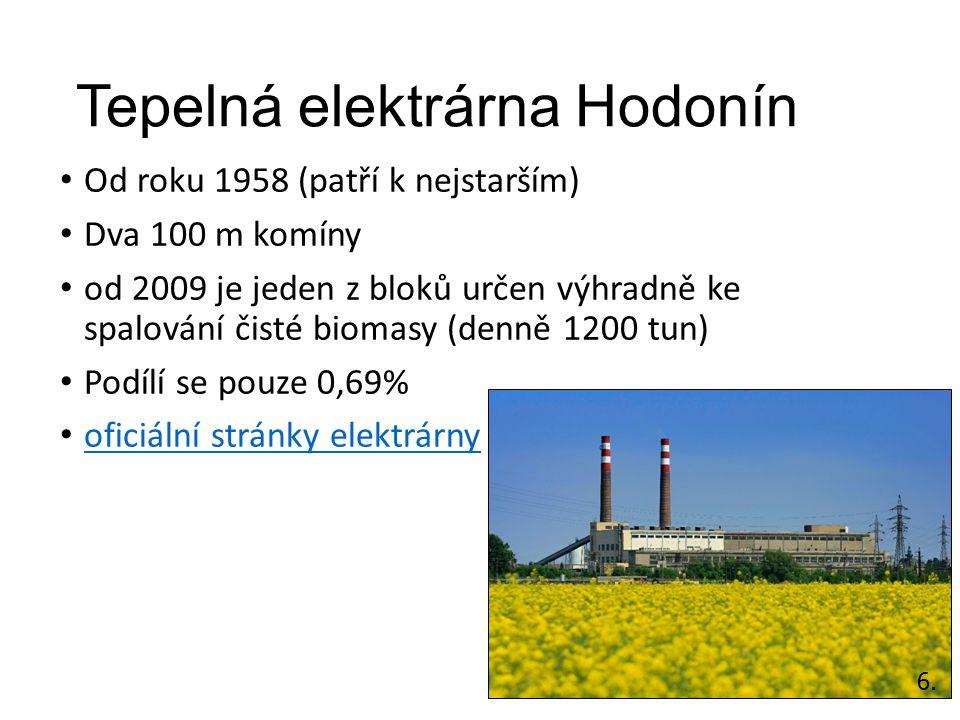Tepelná elektrárna Hodonín Od roku 1958 (patří k nejstarším) Dva 100 m komíny od 2009 je jeden z bloků určen výhradně ke spalování čisté biomasy (denn