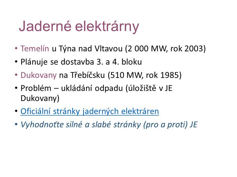 Jaderné elektrárny Temelín u Týna nad Vltavou (2 000 MW, rok 2003) Plánuje se dostavba 3. a 4. bloku Dukovany na Třebíčsku (510 MW, rok 1985) Problém