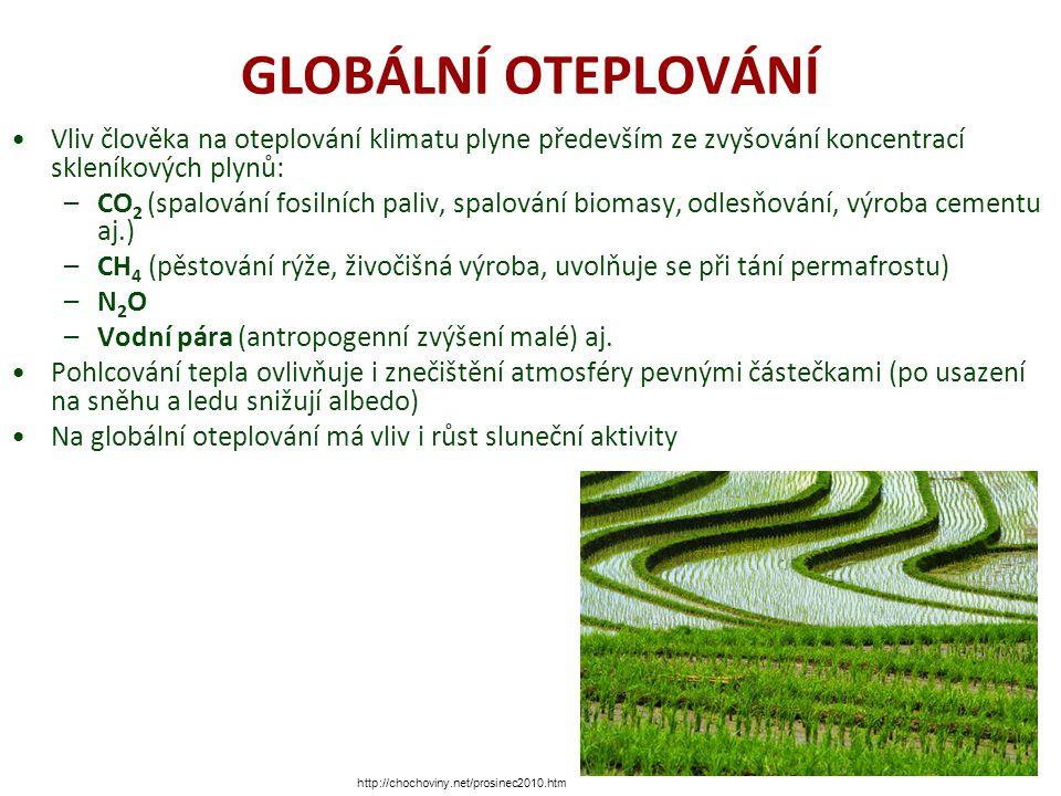 GLOBÁLNÍ OTEPLOVÁNÍ Vliv člověka na oteplování klimatu plyne především ze zvyšování koncentrací skleníkových plynů: –CO 2 (spalování fosilních paliv, spalování biomasy, odlesňování, výroba cementu aj.) –CH 4 (pěstování rýže, živočišná výroba, uvolňuje se při tání permafrostu) –N 2 O –Vodní pára (antropogenní zvýšení malé) aj.