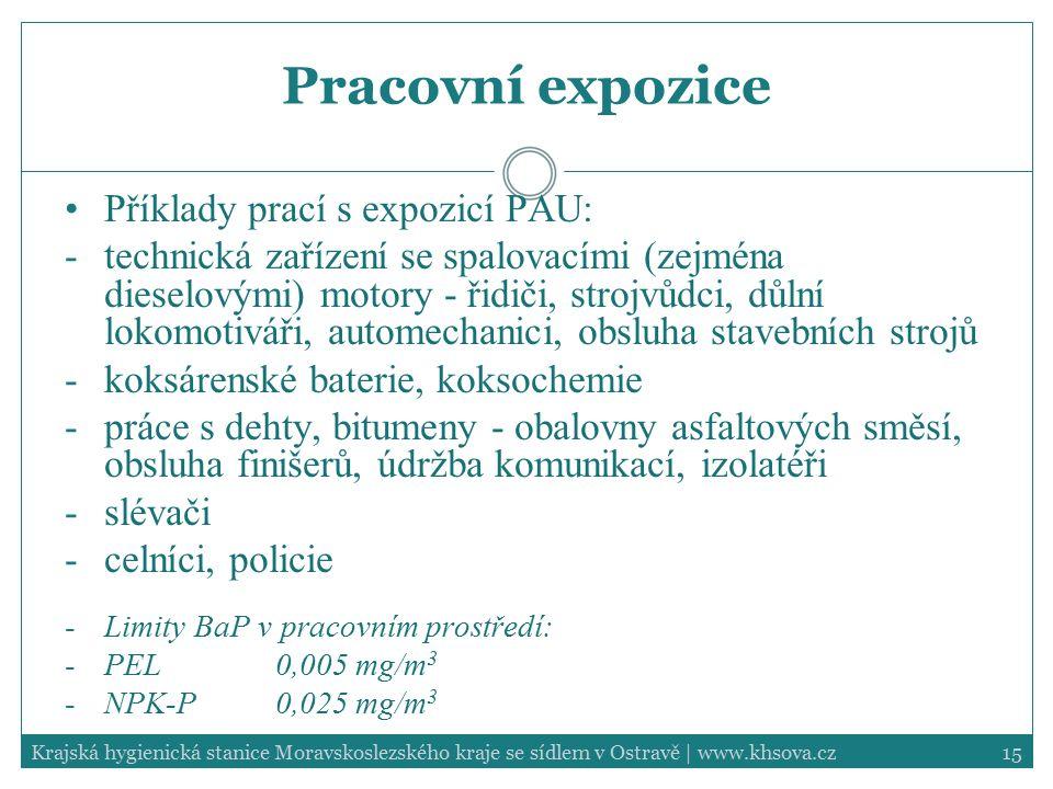15Krajská hygienická stanice Moravskoslezského kraje se sídlem v Ostravě | www.khsova.cz Pracovní expozice Příklady prací s expozicí PAU: -technická z