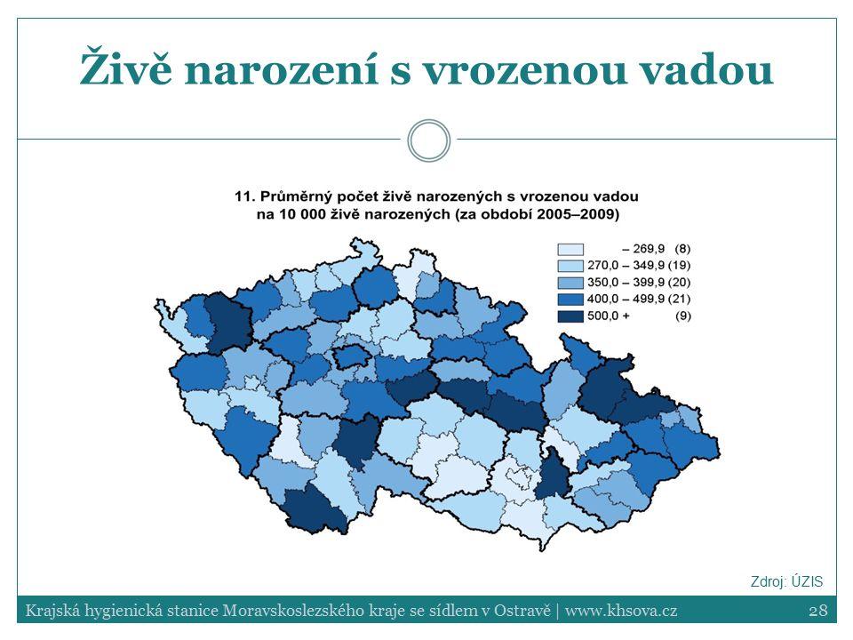 28Krajská hygienická stanice Moravskoslezského kraje se sídlem v Ostravě | www.khsova.cz Živě narození s vrozenou vadou Zdroj: ÚZIS