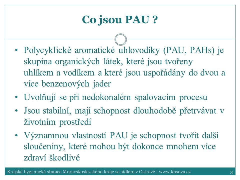 3Krajská hygienická stanice Moravskoslezského kraje se sídlem v Ostravě | www.khsova.cz Co jsou PAU ? Polycyklické aromatické uhlovodíky (PAU, PAHs) j
