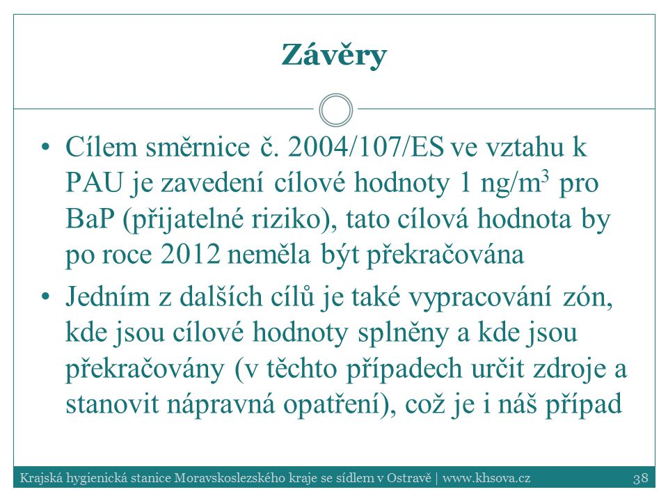 38Krajská hygienická stanice Moravskoslezského kraje se sídlem v Ostravě | www.khsova.cz Závěry Cílem směrnice č. 2004/107/ES ve vztahu k PAU je zaved