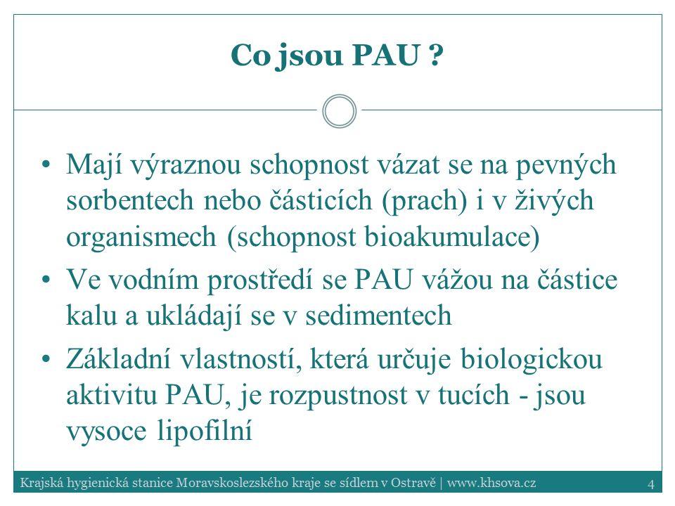 4Krajská hygienická stanice Moravskoslezského kraje se sídlem v Ostravě | www.khsova.cz Co jsou PAU ? Mají výraznou schopnost vázat se na pevných sorb