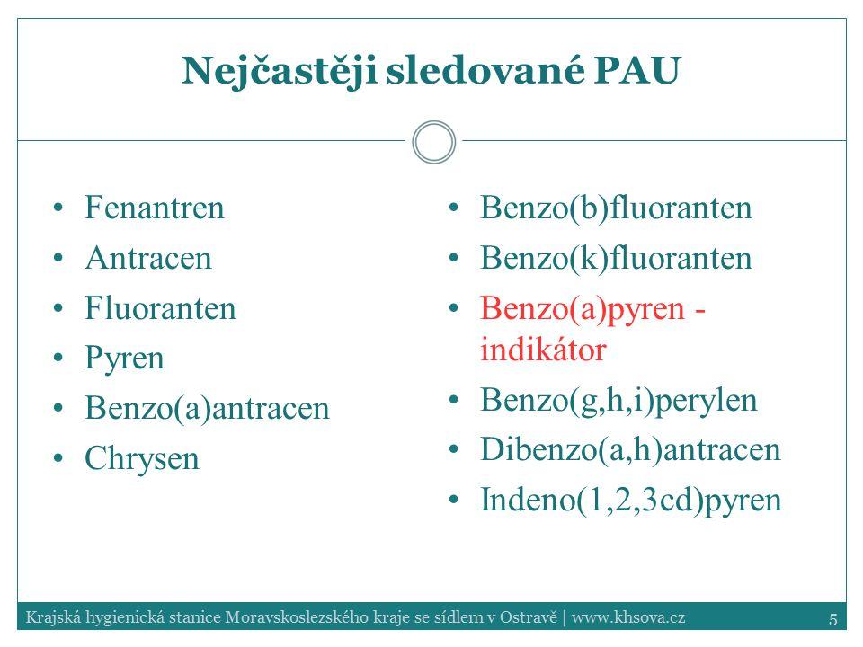 5Krajská hygienická stanice Moravskoslezského kraje se sídlem v Ostravě | www.khsova.cz Nejčastěji sledované PAU Fenantren Antracen Fluoranten Pyren B