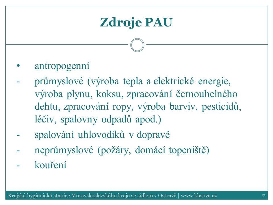 7Krajská hygienická stanice Moravskoslezského kraje se sídlem v Ostravě | www.khsova.cz Zdroje PAU antropogenní -průmyslové (výroba tepla a elektrické