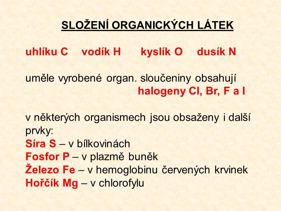 SLOŽENÍ ORGANICKÝCH LÁTEK uhlíku Cvodík H kyslík O dusík N uměle vyrobené organ.