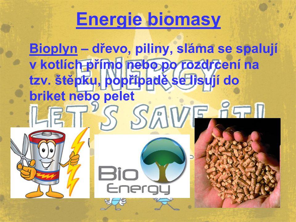 Energie biomasy Bioplyn – dřevo, piliny, sláma se spalují v kotlích přímo nebo po rozdrcení na tzv. štěpku, popřípadě se lisují do briket nebo pelet