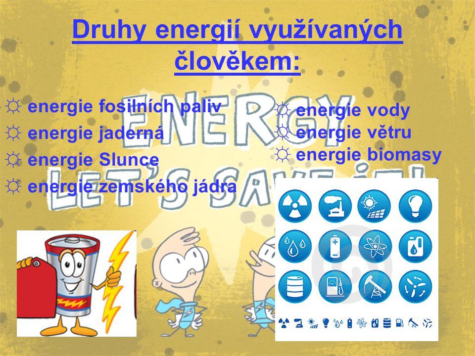 Druhy energií využívaných člověkem: ☼ energie fosilních paliv ☼ energie jaderná ☼ energie Slunce ☼ energie zemského jádra ☼ energie vody ☼ energie vět