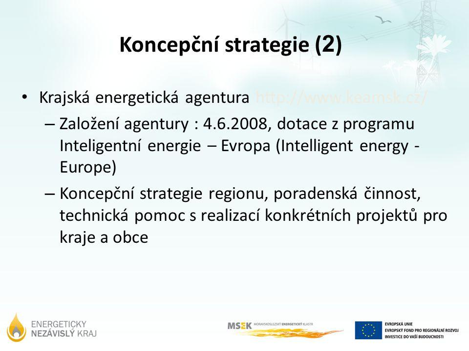 Koncepční strategie ( 2 ) Krajská energetická agentura http://www.keamsk.cz/ – Založení agentury : 4.6.2008, dotace z programu Inteligentní energie –