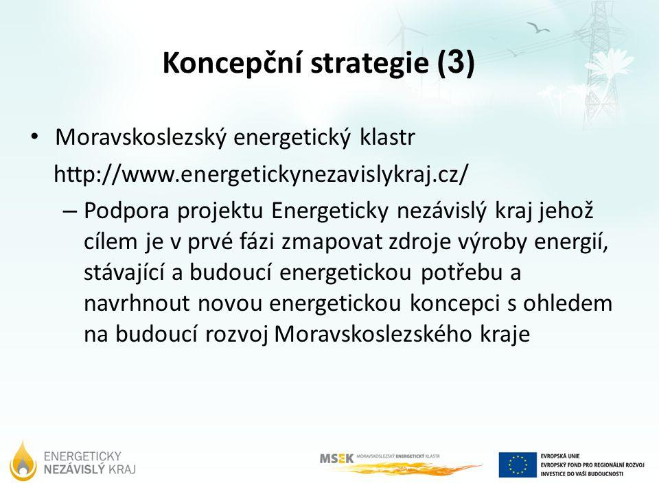 Koncepční strategie ( 3 ) Moravskoslezský energetický klastr http://www.energetickynezavislykraj.cz/ – Podpora projektu Energeticky nezávislý kraj jeh