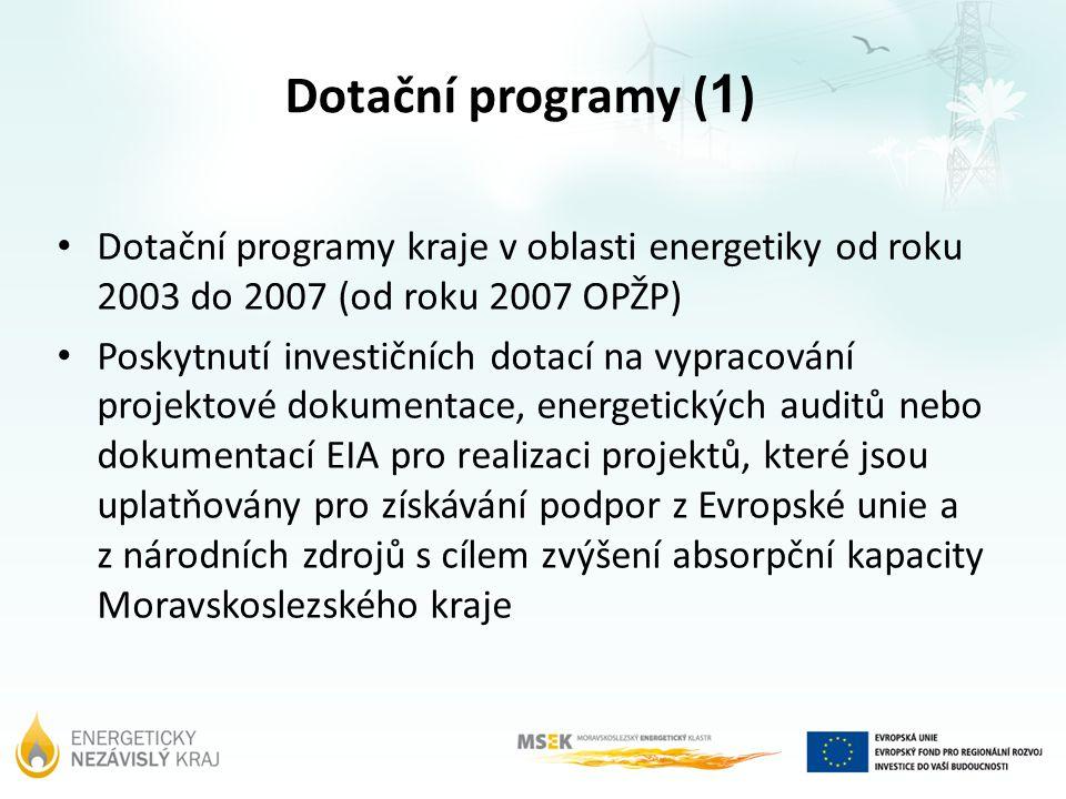 Dotační programy ( 1 ) Dotační programy kraje v oblasti energetiky od roku 2003 do 2007 (od roku 2007 OPŽP) Poskytnutí investičních dotací na vypracov