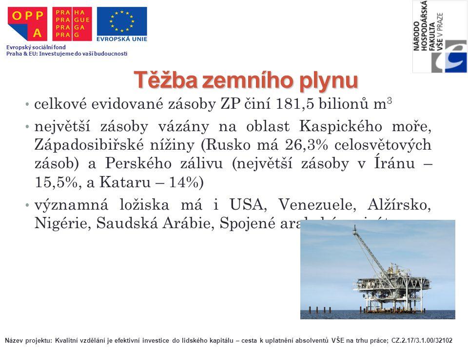 Těžba zemního plynu celkové evidované zásoby ZP činí 181,5 bilionů m 3 největší zásoby vázány na oblast Kaspického moře, Západosibiřské nížiny (Rusko