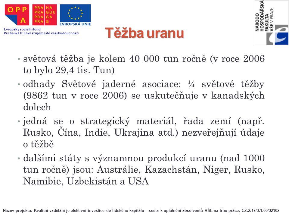Těžba uranu světová těžba je kolem 40 000 tun ročně (v roce 2006 to bylo 29,4 tis. Tun) odhady Světové jaderné asociace: ¼ světové těžby (9862 tun v r