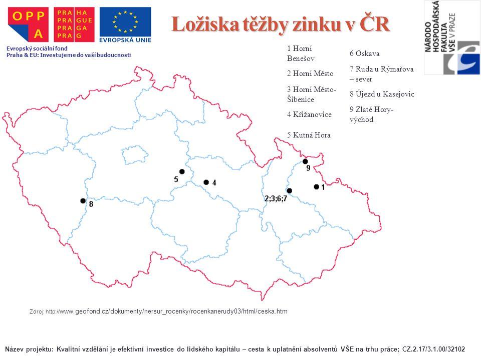 Ložiska těžby zinku v ČR Zdroj: http:// www.geofond.cz/dokumenty/nersur_rocenky/rocenkanerudy03/html/ceska.htm 1 Horní Benešov 6 Oskava 2 Horní Město