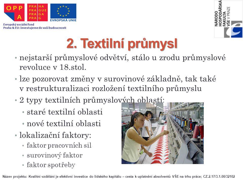 2. Textilní průmysl nejstarší průmyslové odvětví, stálo u zrodu průmyslové revoluce v 18.stol. lze pozorovat změny v surovinové základně, tak také v r