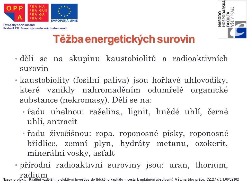 Těžba energetických surovin dělí se na skupinu kaustobiolitů a radioaktivních surovin kaustobiolity (fosilní paliva) jsou hořlavé uhlovodíky, které vz