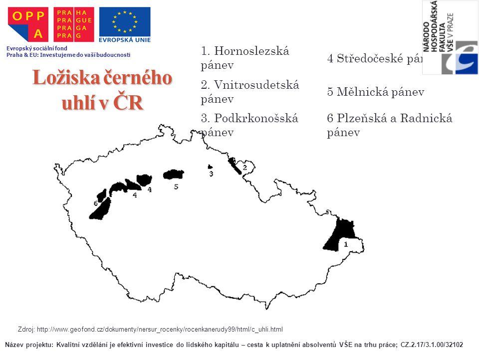 Ložiska černého uhlí v ČR 1. Hornoslezská pánev 4 Středočeské pánve 2. Vnitrosudetská pánev 5 Mělnická pánev 3. Podkrkonošská pánev 6 Plzeňská a Radni