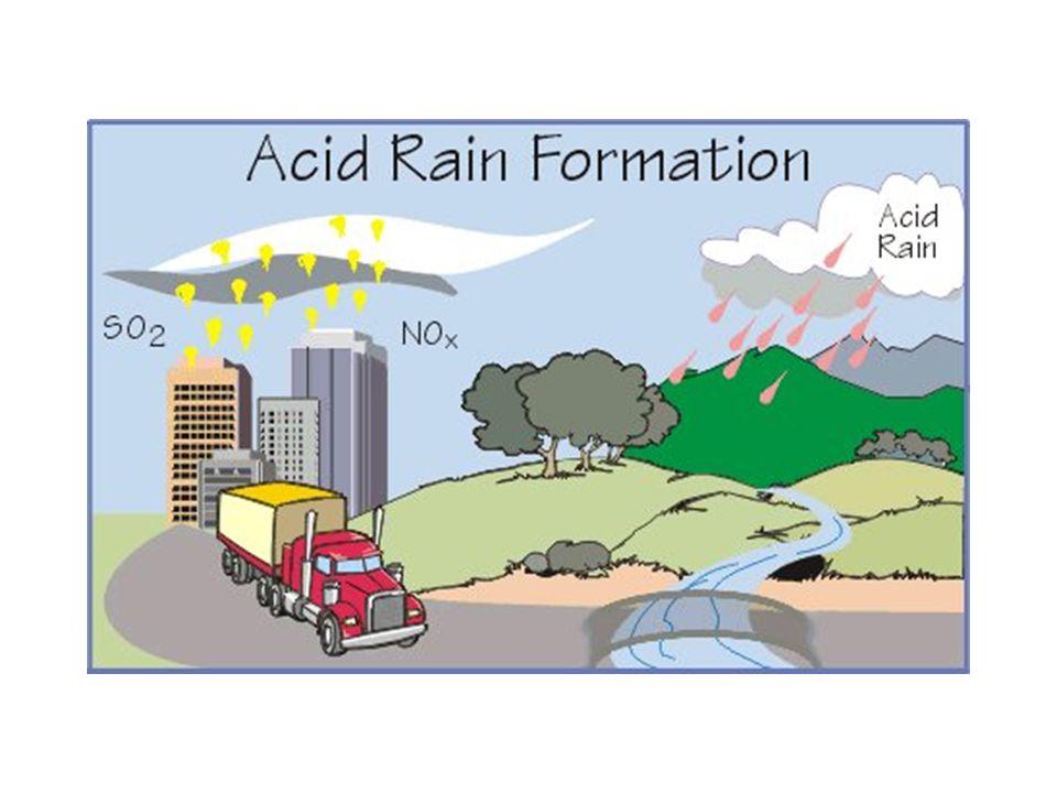 Příčina Spalováním uhlí obsahující síru vzniká oxid siřičitý, spalováním benzínu v automobilech vznikají oxidy dusíky.
