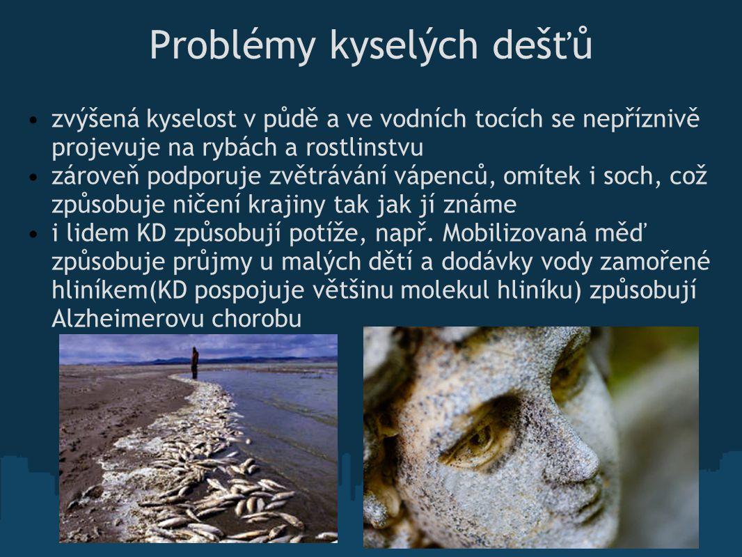 Problémy kyselých dešťů zvýšená kyselost v půdě a ve vodních tocích se nepříznivě projevuje na rybách a rostlinstvu zároveň podporuje zvětrávání vápen