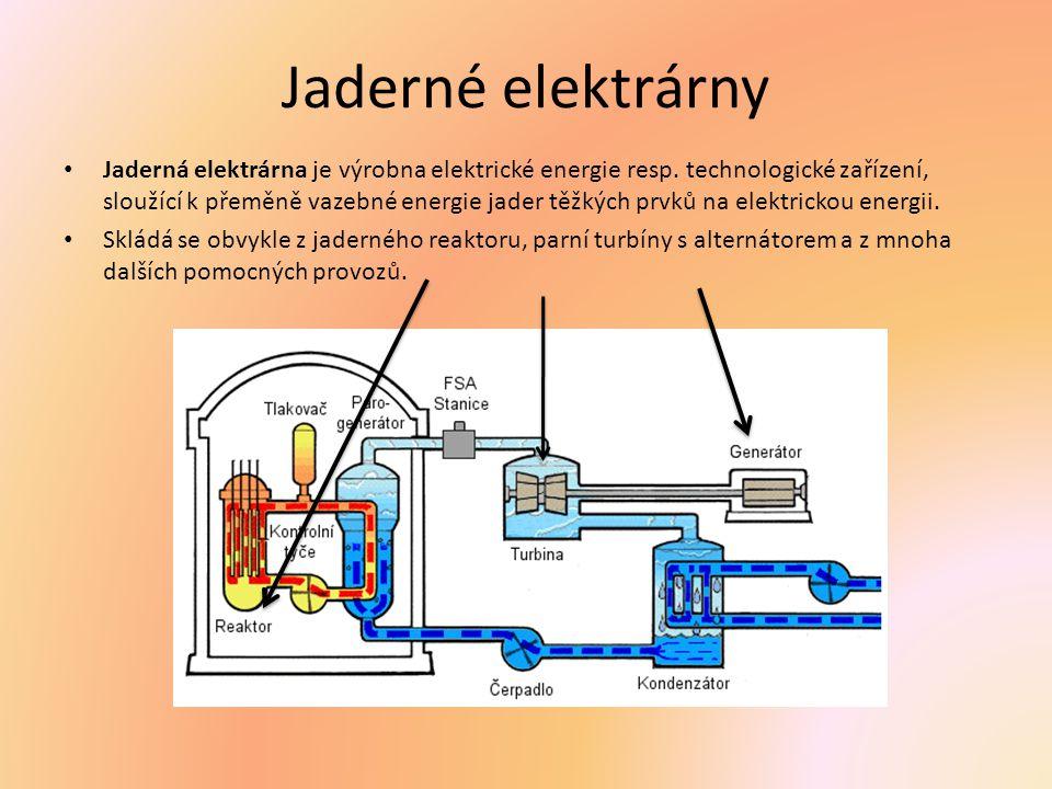 Jaderné elektrárny Jaderná elektrárna je výrobna elektrické energie resp. technologické zařízení, sloužící k přeměně vazebné energie jader těžkých prv