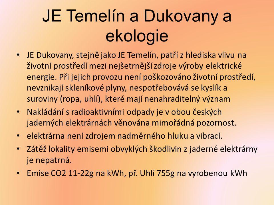 JE Temelín a Dukovany a ekologie JE Dukovany, stejně jako JE Temelín, patří z hlediska vlivu na životní prostředí mezi nejšetrnější zdroje výroby elek