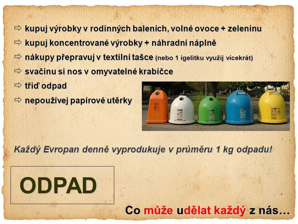 Co může udělat každý z nás… ODPAD ODPAD  kupuj výrobky v rodinných baleních, volné ovoce + zeleninu  kupuj koncentrované výrobky + náhradní náplně  nákupy přepravuj v textilní tašce (nebo 1 igelitku využij vícekrát)  svačinu si nos v omyvatelné krabičce  třiď odpad  nepoužívej papírové utěrky Každý Evropan denně vyprodukuje v průměru 1 kg odpadu!