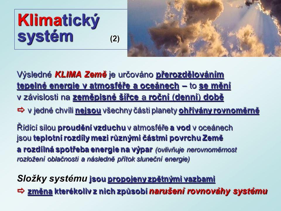 Klimatický systém (2) Výsledné KLIMA Země je určováno přerozdělováním tepelné energie v atmosféře a oceánech – to se mění v závislosti na zeměpisné šířce a roční (denní) době  v jedné chvíli nejsou všechny části planety ohřívány rovnoměrně Řídící silou proudění vzduchu v atmosféře a vod v oceánech jsou teplotní rozdíly mezi různými částmi povrchu Země a rozdílná spotřeba energie na výpar (ovlivňuje nerovnoměrnost rozložení oblačnosti a následně přítok sluneční energie) Složky systému jsou propojeny zpětnými vazbami  změna kterékoliv z nich způsobí narušení rovnováhy systému