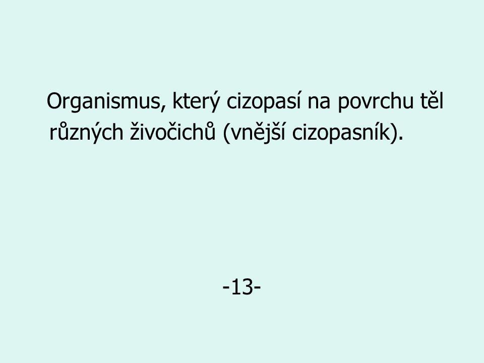 Organismus, který cizopasí na povrchu těl různých živočichů (vnější cizopasník). -13-