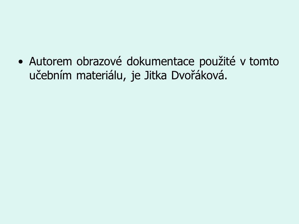 Autorem obrazové dokumentace použité v tomto učebním materiálu, je Jitka Dvořáková.