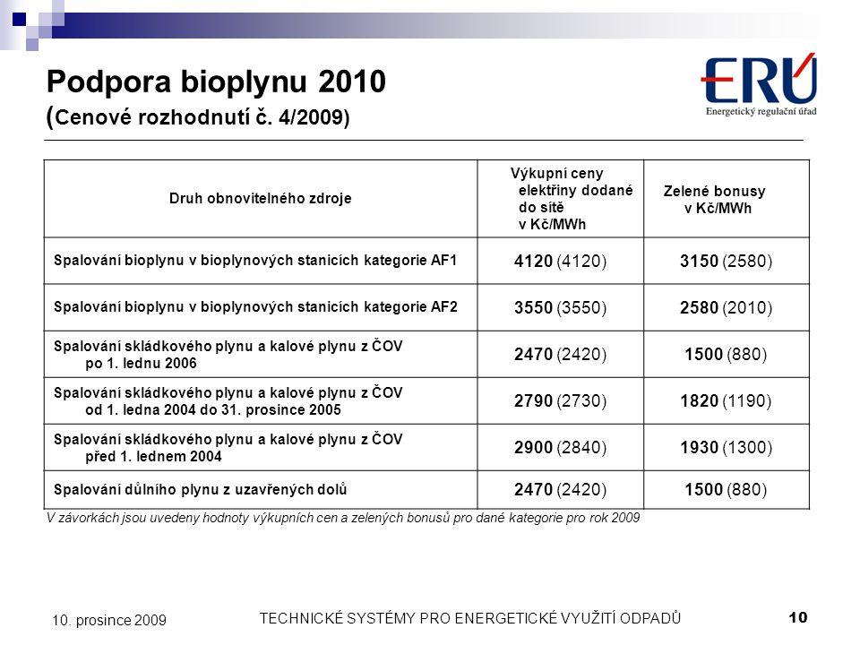 TECHNICKÉ SYSTÉMY PRO ENERGETICKÉ VYUŽITÍ ODPADŮ10 10. prosince 2009 Podpora bioplynu 2010 ( Cenové rozhodnutí č. 4/2009) Druh obnovitelného zdroje Vý