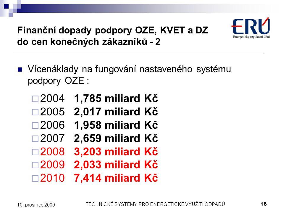 TECHNICKÉ SYSTÉMY PRO ENERGETICKÉ VYUŽITÍ ODPADŮ16 10. prosince 2009 Finanční dopady podpory OZE, KVET a DZ do cen konečných zákazníků - 2 Vícenáklady