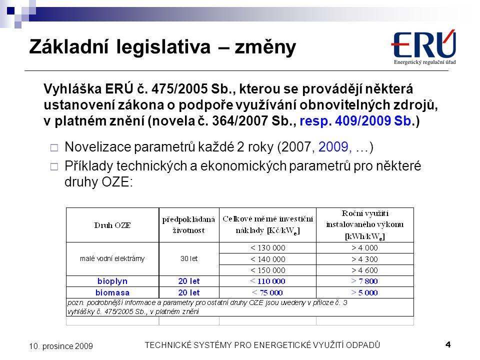 TECHNICKÉ SYSTÉMY PRO ENERGETICKÉ VYUŽITÍ ODPADŮ4 10. prosince 2009 Základní legislativa – změny Vyhláška ERÚ č. 475/2005 Sb., kterou se provádějí něk