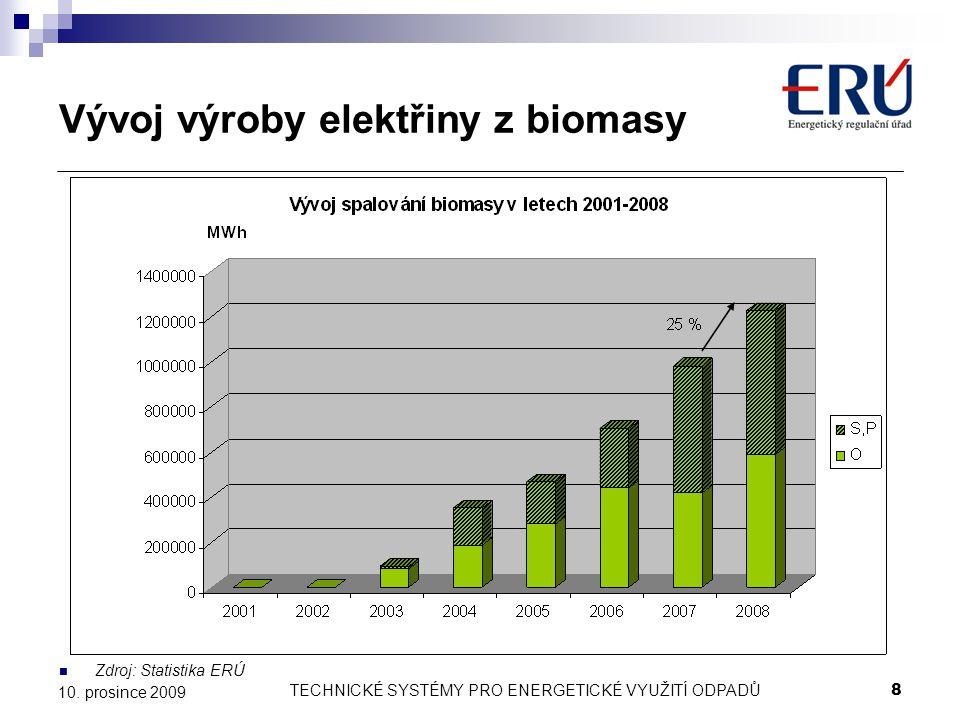 TECHNICKÉ SYSTÉMY PRO ENERGETICKÉ VYUŽITÍ ODPADŮ8 10. prosince 2009 Vývoj výroby elektřiny z biomasy Zdroj: Statistika ERÚ