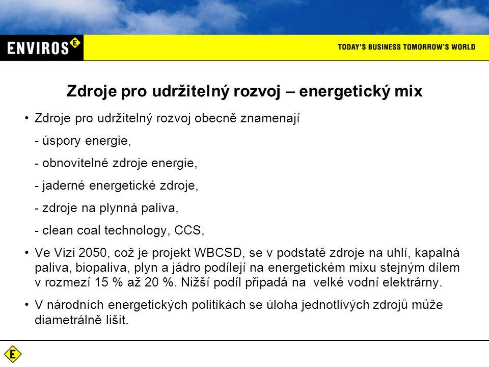 Zdroje pro udržitelný rozvoj – energetický mix Zdroje pro udržitelný rozvoj obecně znamenají - úspory energie, - obnovitelné zdroje energie, - jaderné