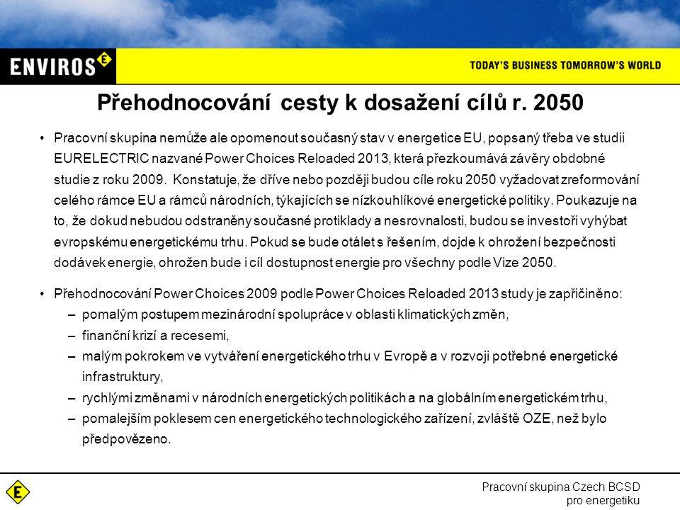 Přehodnocování cesty k dosažení cílů r. 2050 Pracovní skupina nemůže ale opomenout současný stav v energetice EU, popsaný třeba ve studii EURELECTRIC