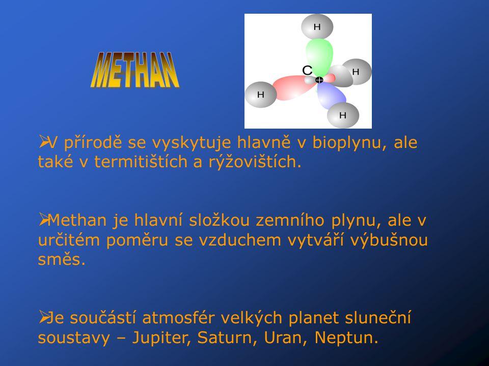  V přírodě se vyskytuje hlavně v bioplynu, ale také v termitištích a rýžovištích.  Methan je hlavní složkou zemního plynu, ale v určitém poměru se v