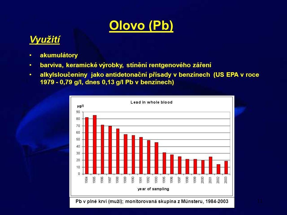 11 Olovo (Pb) Využití akumulátory barviva, keramické výrobky, stínění rentgenového záření alkylsloučeniny jako antidetonační přísady v benzínech (US E