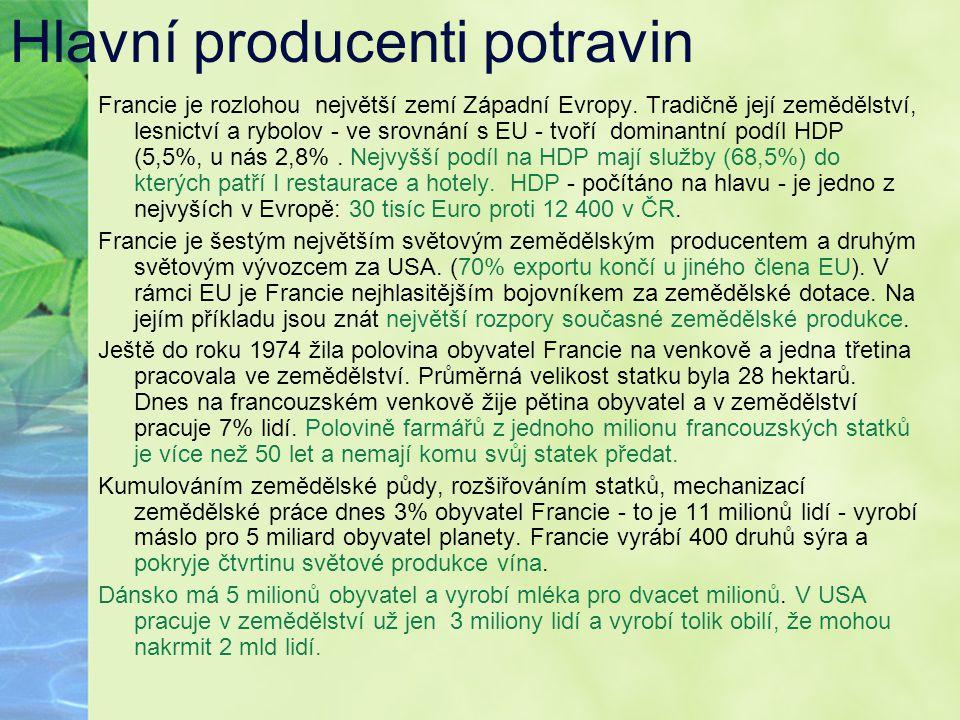 Hlavní producenti potravin Francie je rozlohou největší zemí Západní Evropy. Tradičně její zemědělství, lesnictví a rybolov - ve srovnání s EU - tvoří