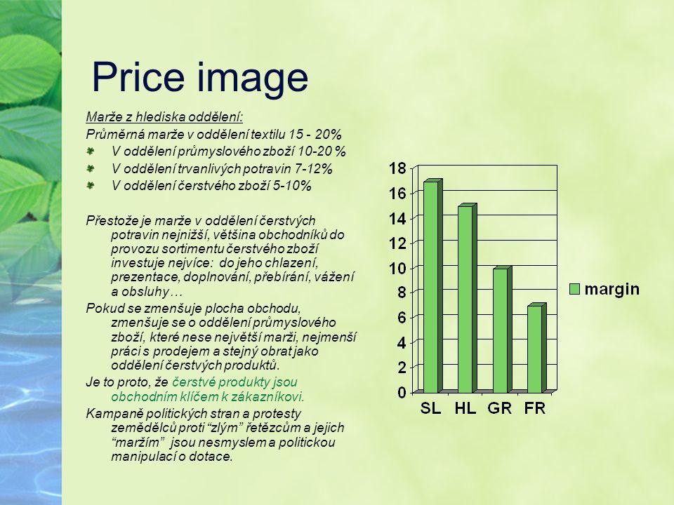 Price image Marže z hlediska oddělení: Průměrná marže v oddělení textilu 15 - 20% V oddělení průmyslového zboží 10-20 % V oddělení trvanlivých potravi