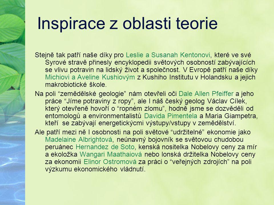 Inspirace z oblasti teorie Stejně tak patří naše díky pro Leslie a Susanah Kentonovi, které ve své Syrové stravě přinesly encyklopedii světových osobn