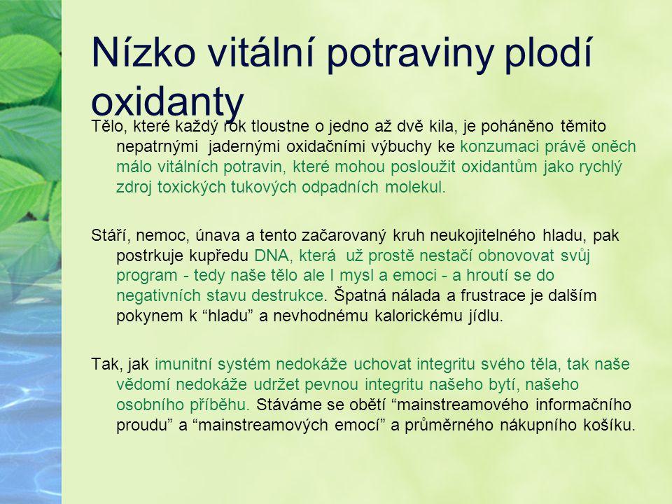 Nízko vitální potraviny plodí oxidanty Tělo, které každý rok tloustne o jedno až dvě kila, je poháněno těmito nepatrnými jadernými oxidačními výbuchy