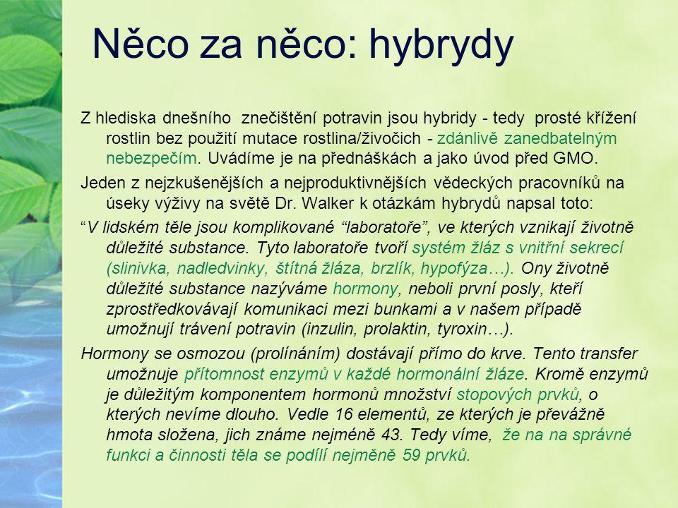 Něco za něco: hybrydy Z hlediska dnešního znečištění potravin jsou hybridy - tedy prosté křížení rostlin bez použití mutace rostlina/živočich - zdánli